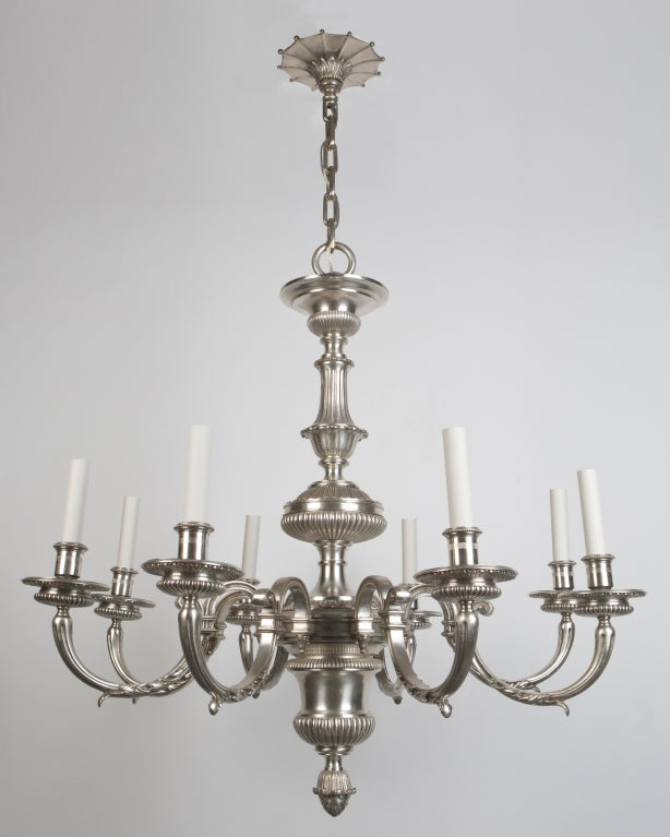 An Eight Light Silver Chandelier By E F Caldwell At 1stdibs