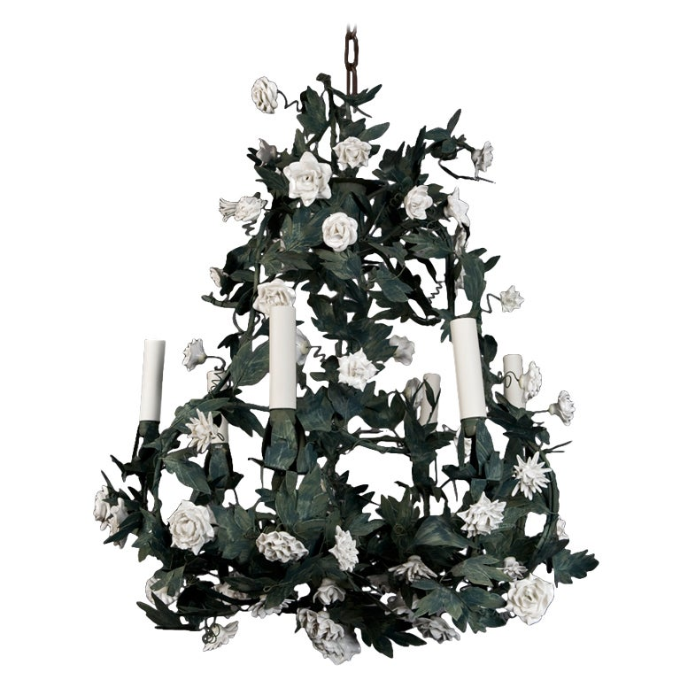 a six-light French tole chandelier 1