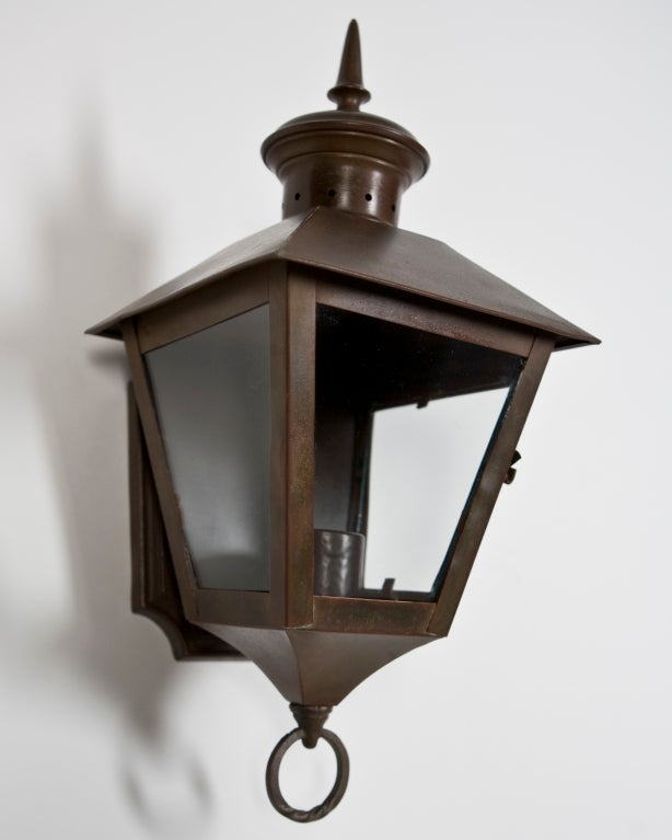 Pair of Exterior Copper Wall Lanterns at 1stdibs