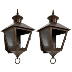 Pair of Exterior Copper Wall Lanterns