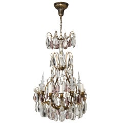 A Six-light Rock Crystal Chandelier