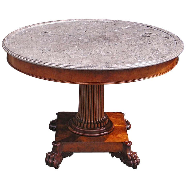 French Mahogany Marble Pedestal Table