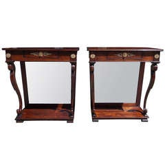 Pair of English Regency Mahogany Consoles, Circa 1790