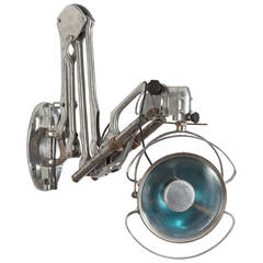 Industrial Articulated Aluminum and Chrome Swing-Arm Sconce, circa 1930