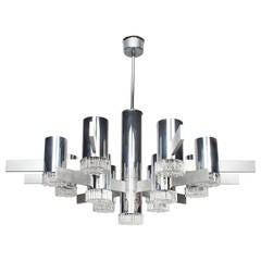 Glass, Chrome, and Aluminum Chandelier by Italian Designer Gaetano Sciolari