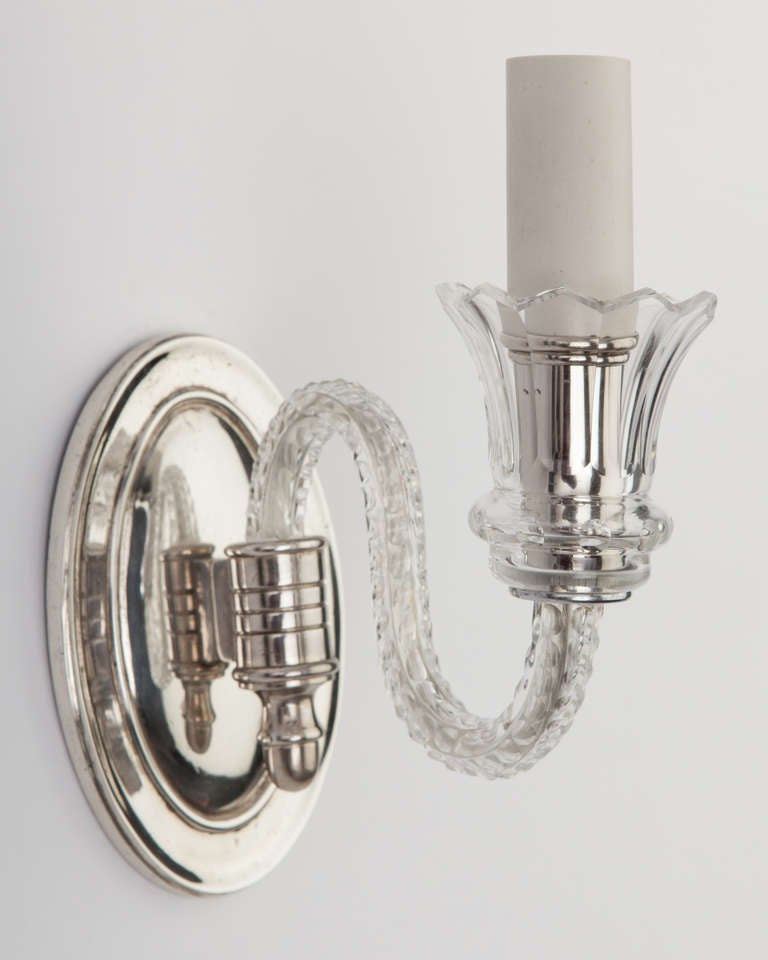 Silver Crystal Wall Sconces : A Pair Of Silver And Crystal Sconces at 1stdibs