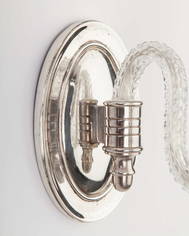 A Pair Of Silver And Crystal Sconces at 1stdibs