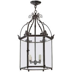 Crenelated antique wrought brass lantern for sale at 1stdibs - Sorenson lantern ...