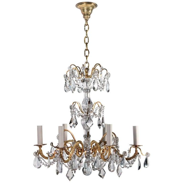 Gilded Brass Crystal Chandelier