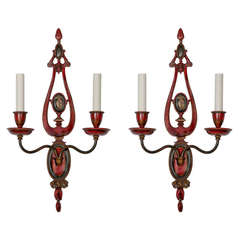 Hand-Painted Chinoiserie Sconces by E.F. Caldwell