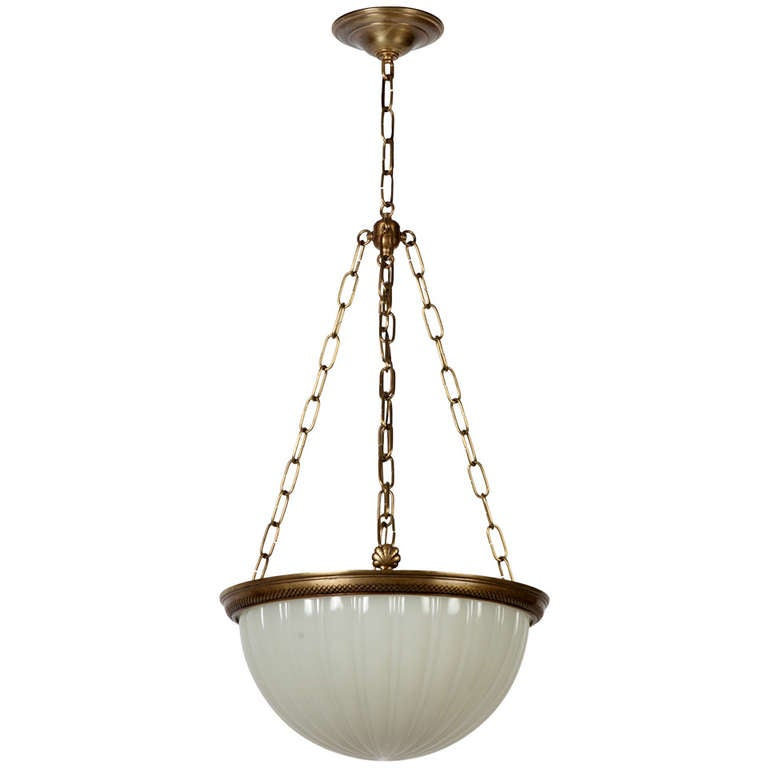 Bronze And Opaline Glass Inverted Dome Chandelier With