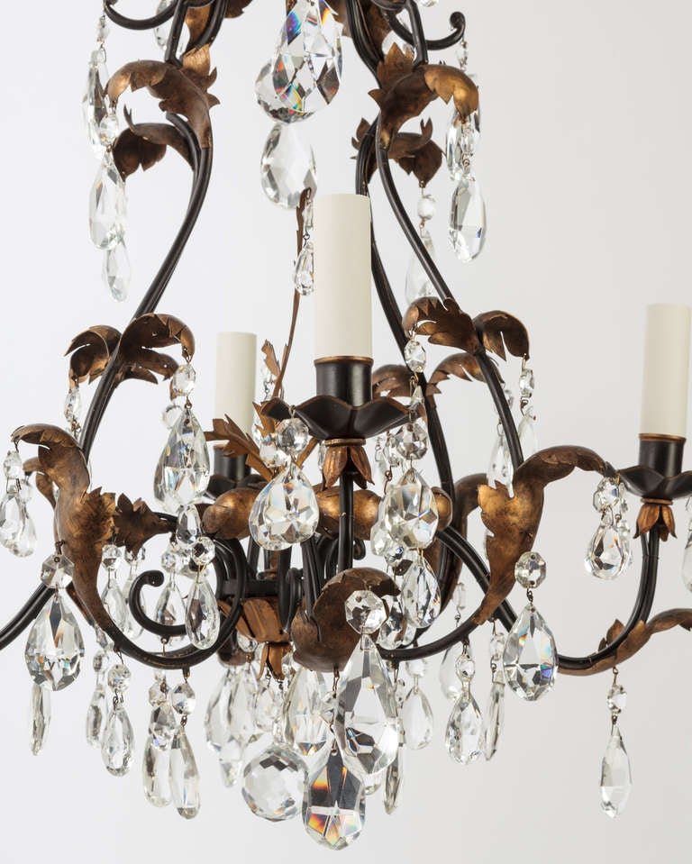 A Four-light Crystal Chandelier In Excellent Condition In New York, NY