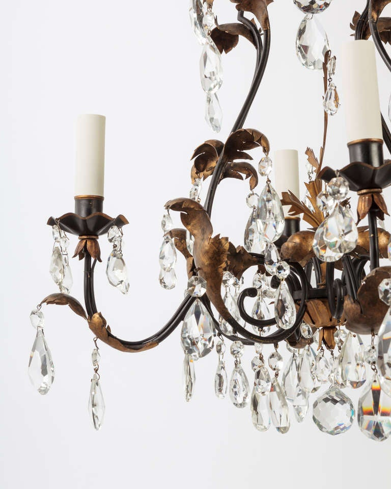 Mid-20th Century A Four-light Crystal Chandelier