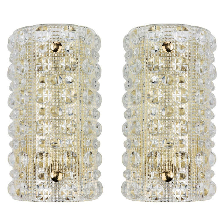 A Pair Of Orrefors Glass Sconces