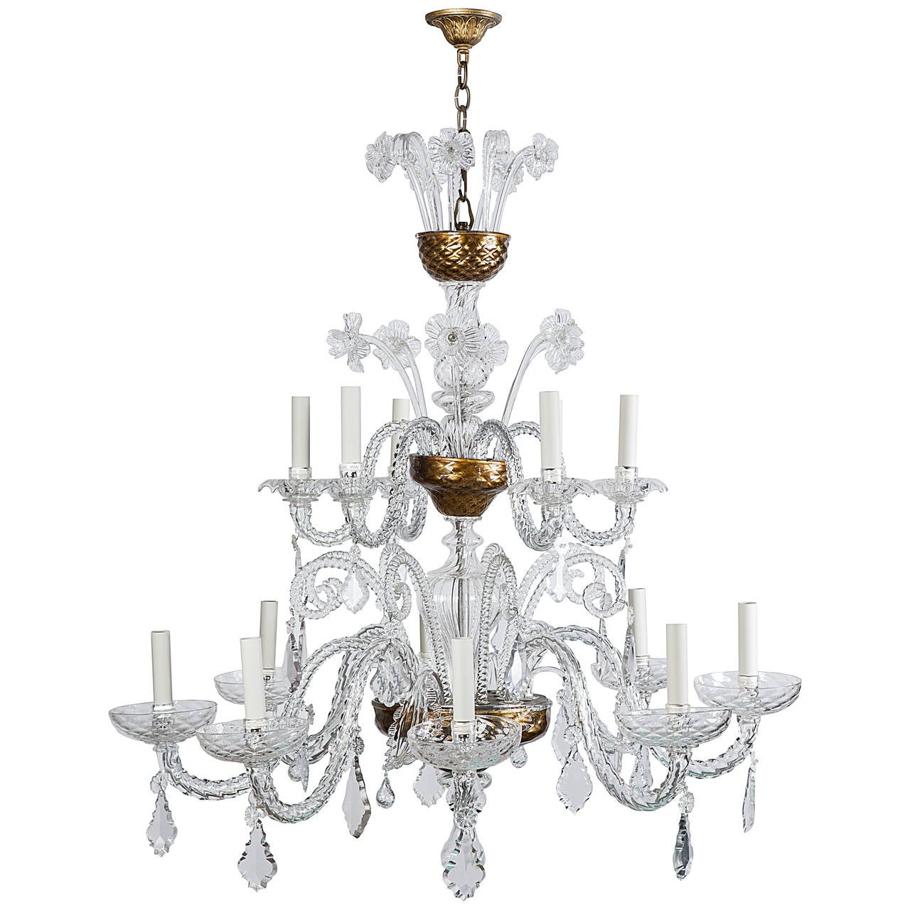 Murano blown glass chandelier with crystal prisms for sale Blown glass chandelier