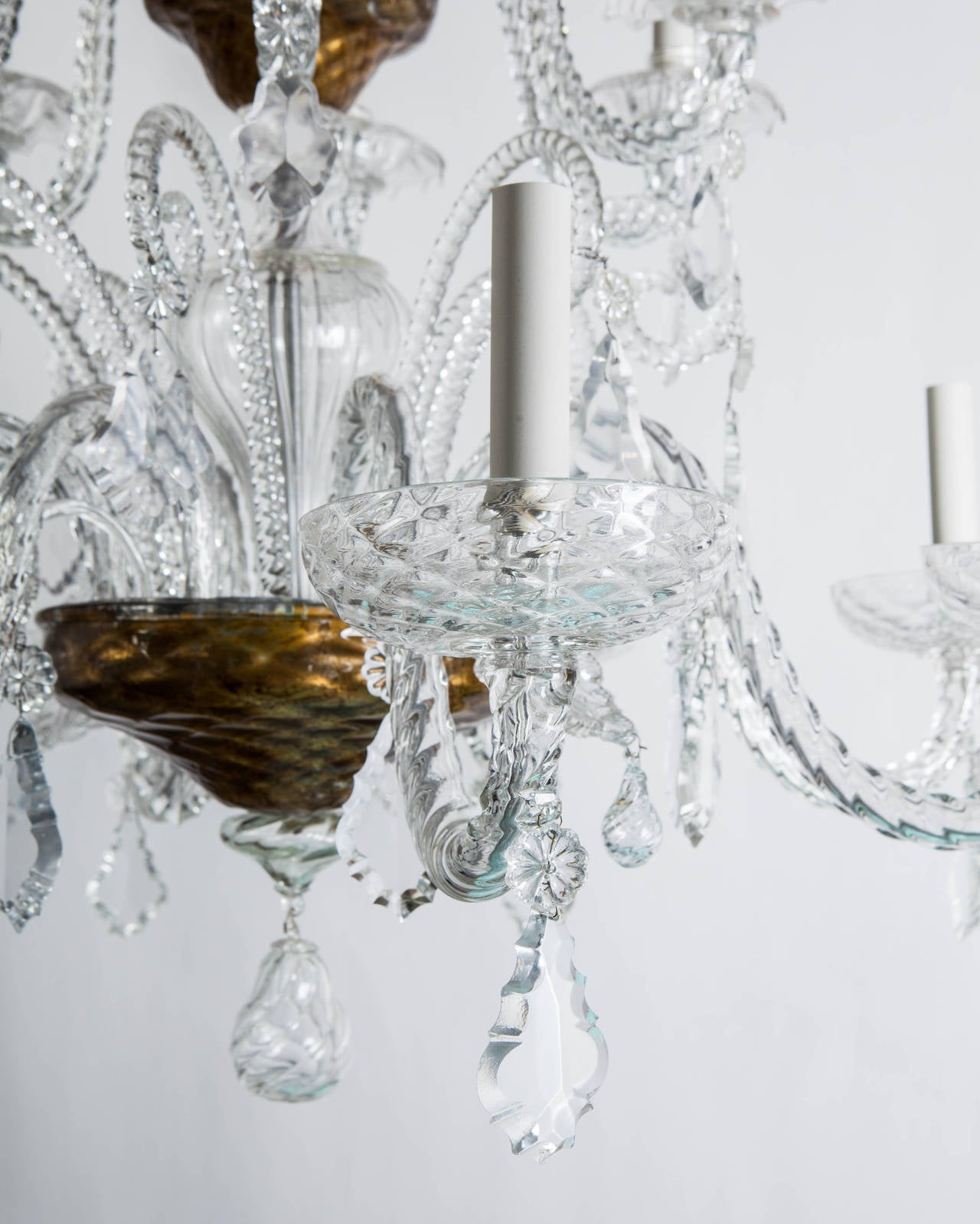 Murano Prism Chandelier: Murano Blown Glass Chandelier With Crystal Prisms At 1stdibs
