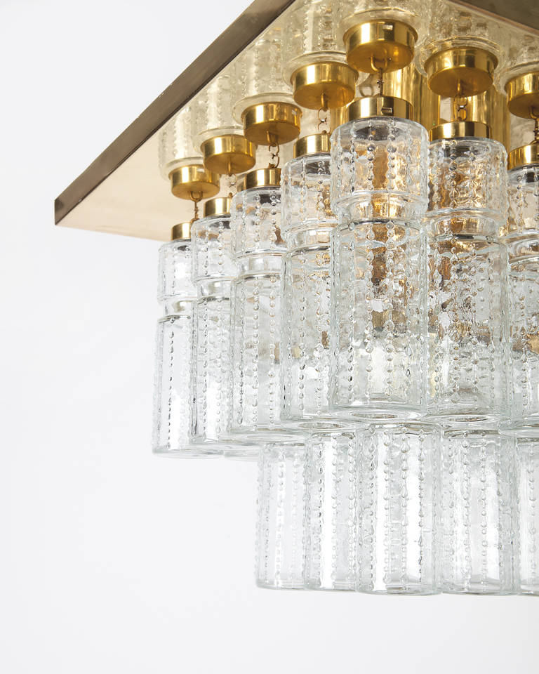 Vintage Flush Mount with Hollow Glass Prisms In Excellent Condition For Sale In New York, NY