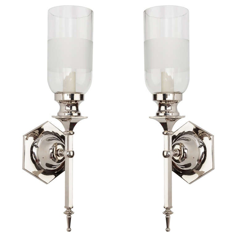 Pollianna Wall Sconce With Glass Hurricane : A Pair Of Hexagonal Sconces With Hurricane Glass Shades at 1stdibs