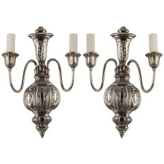 A pair of silverplate sconces