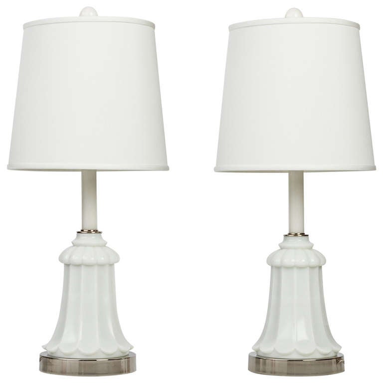 A pair of milk glass table lamps