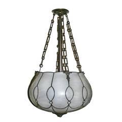 Leaded Glass Pendant Light Fixture