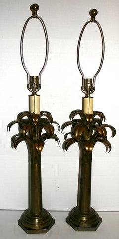 Pair of Palm Tree Brass Lamps