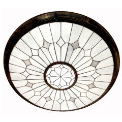Set of Five Neoclassic Large Leaded Glass Fixtures