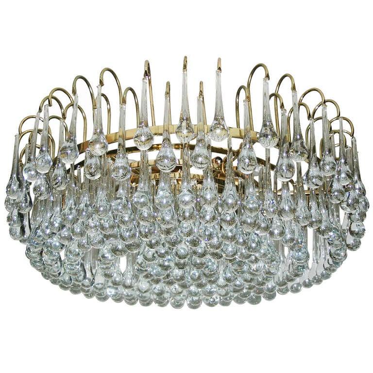 Italian Gilt Light Fixture with Glass Drops