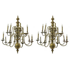 Pair of Large Dutch Brass Chandeliers