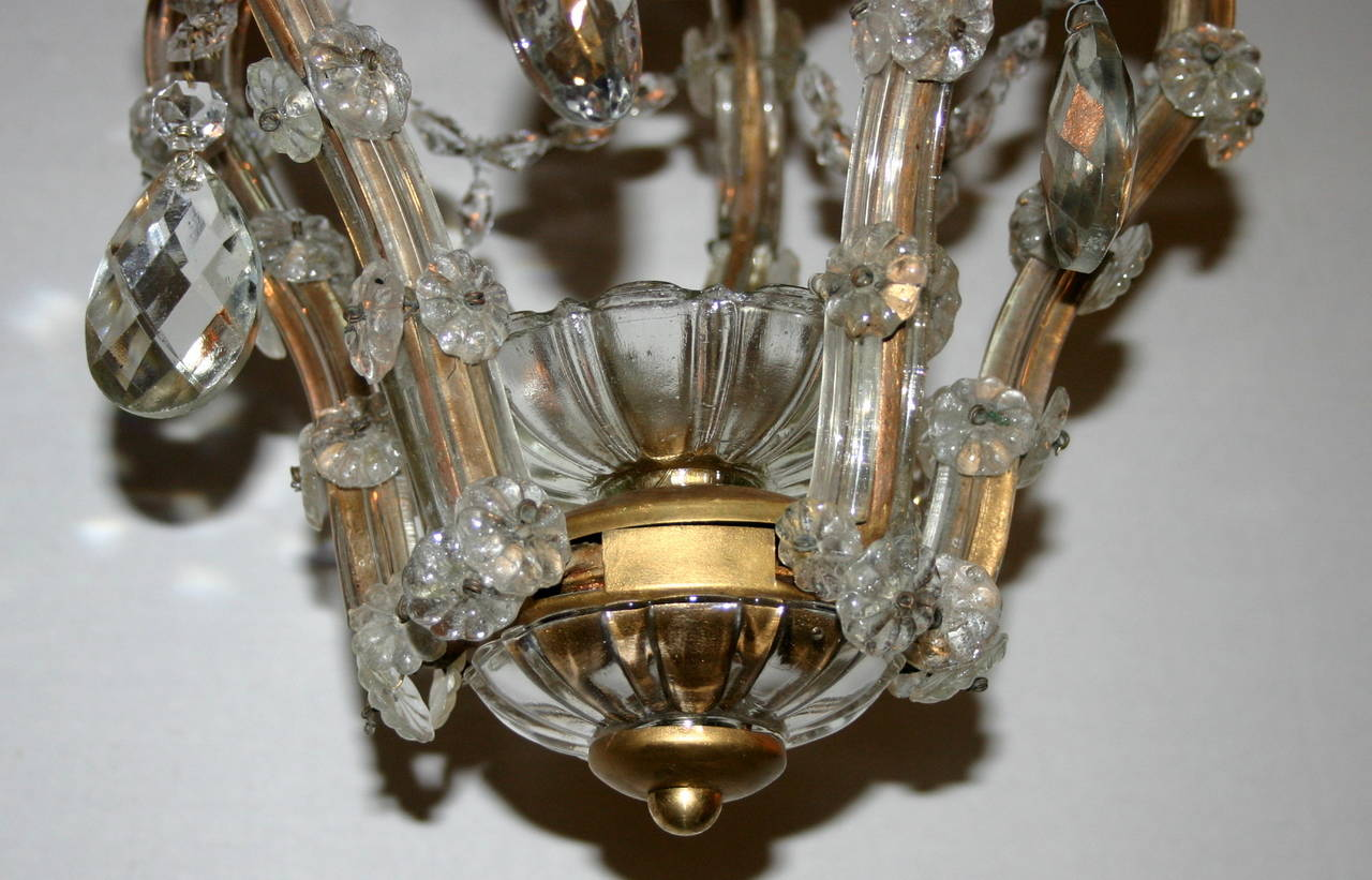 Set of Chandeliers with Crystal Drops, Sold Individually In Good Condition For Sale In New York, NY
