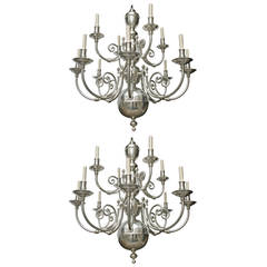 Pair of Silver Plated Chandeliers