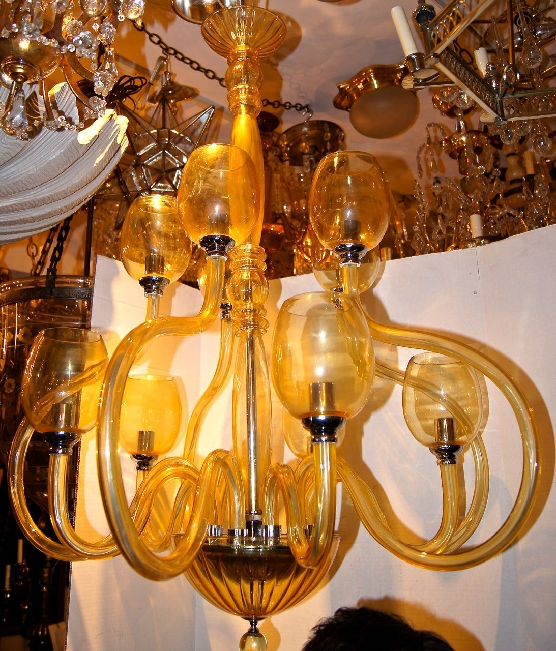Murano Glass Chandelier Large: Large Amber Murano Glass Chandelier For Sale At 1stdibs