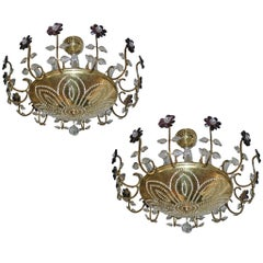 Pair of Gilt Light Fixtures with Amethyst Crystals, Sold Individually