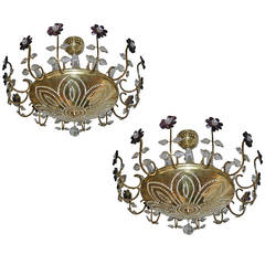 Pair of Gilt Light Fixtures with Amethyst Crystals
