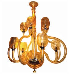 Large Amber Murano Glass Chandelier