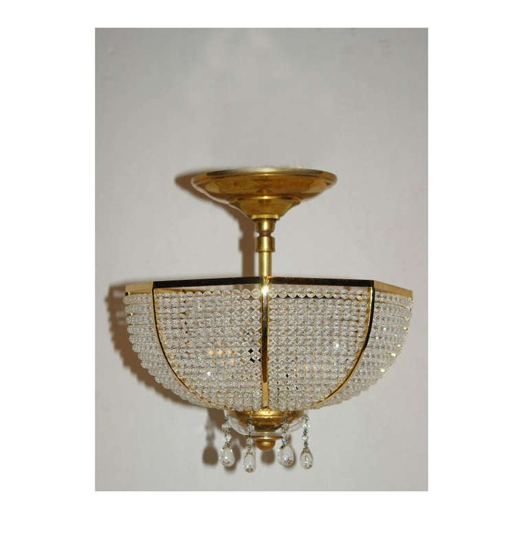 French Beaded Crystal Fixture For Sale
