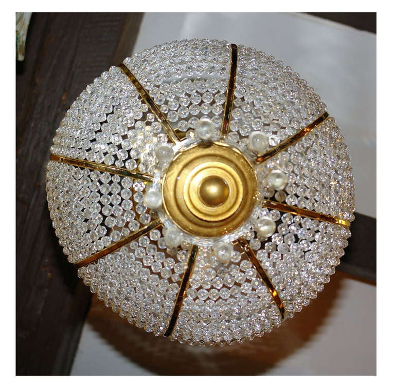 Beaded Crystal Fixture In Good Condition For Sale In New York, NY