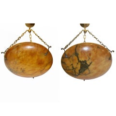 Pair of Carved Alabaster Light Fixtures
