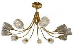 Moderne Swedish Gilt Bronze Light Fixture