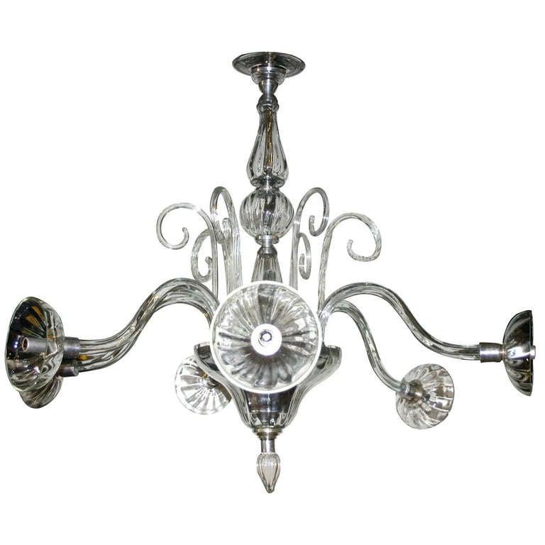 Clear Murano Glass Venetian Chandelier