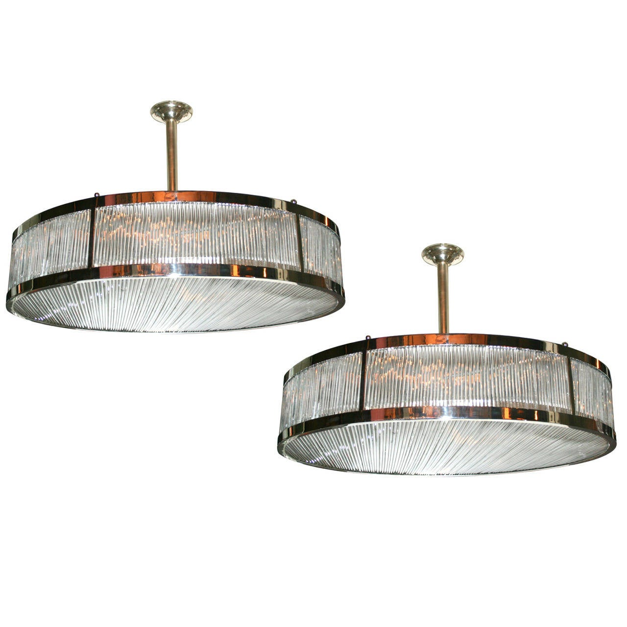 Pair Of Large Gl Rods Light Fixtures