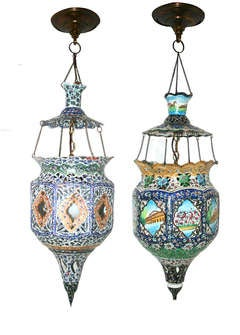 Matched Pair of Arabesque Lanterns