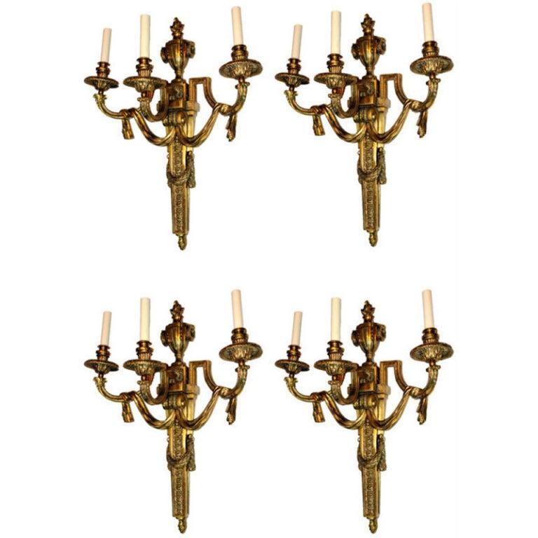 Set of Four Large Bronze Sconces
