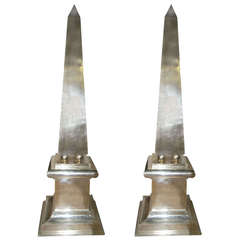 Pair of Large Silver Plated Obelisks