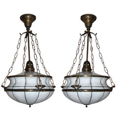 Pair of Leaded Glass Light Fixtures, Sold Individually