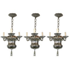 Set of 3 Neoclassic Silver Plated Chandeliers