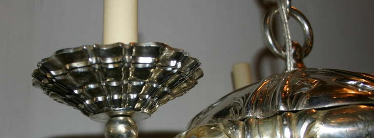 20th Century Set of 3 Neoclassic Silver Plated Chandeliers  For Sale