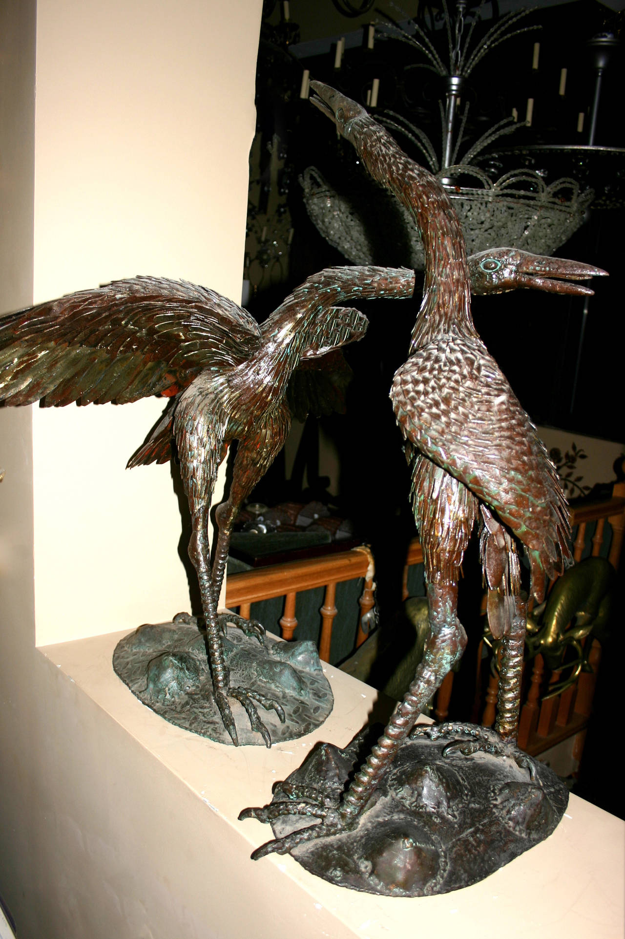 Pair of Large Iron Cranes Sculptures In Excellent Condition For Sale In New York, NY