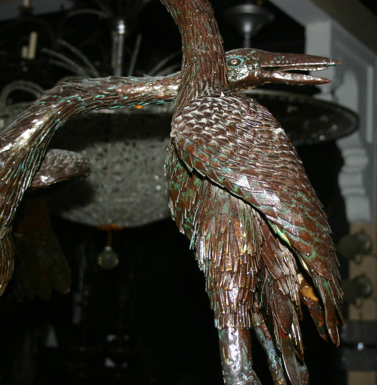 Pair of Large Iron Cranes Sculptures For Sale 1