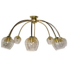 Italian Gilt Metal and Glass Light Fixture